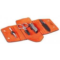 Trousse manucure Dovo Silvertex noir/velours orange