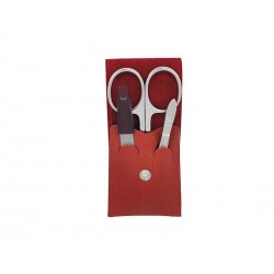 trousse manucure dovo cuir rouge